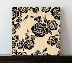 Canvas Art Wood Block  Black Rose Pattern  Wall Decor by ArtNellie
