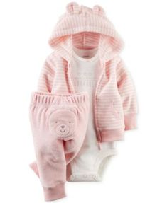 Carter's Baby Girls' 3-Piece Hoodie, Bodysuit & Pants Set