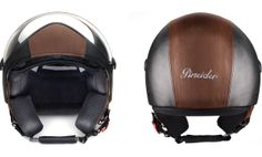 PINIEDER > Black & Brown Leather Helmet