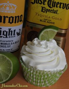 Coronarita Cupcakes with tequila, corona, and lime. Holy Mother of Delicious!