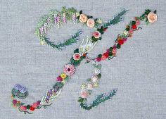 Mille fiori alphabet - K Embroidery Keka❤❤❤