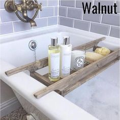 Customisable Wooden bath caddy UK + delivery, take look on the Etsy store today while prices last Bathtub Tray, Bathtub Caddy, Bath Tub, Oak Wood Stain, Bath Board, Bath Rack, Bath Shelf, Wooden Bath, Consoles