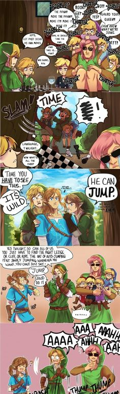 Liked the comic, so I just removed the profanity from the original picture. I did not draw this or contribute to it in anyway, it belongs to the rightful artist. Tags: jump, crossover, breath of the wild, chess, four swords, link, funny, comic, nintendo, the legend of zelda, link, adult, clean, edit, to the past, windwaker, toon