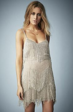 Free shipping and returns on Kate Moss for Topshop Beaded Fringe Tiered Dress at Nordstrom.com. A strappy cocktail dress is detailed with bugle-bead fringing in a tiered silhouette.