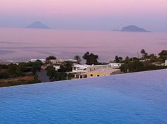 View of Stromboli and Panarea, from the Hotel Ravesi, Island of Salina, Aeolian Islands, Italy