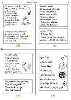 Anadili etkinliği Turkish Lessons, Nursery Rhymes, Grade 1, Kids Learning, Preschool, How To Plan, Education, Children, Bern