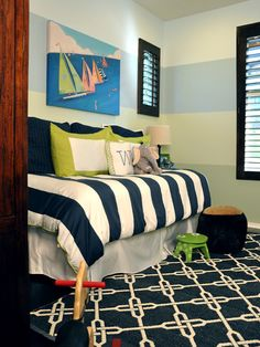 Kids Boys' Rooms Design, Pictures, Remodel, Decor and Ideas...really like the navy and lime