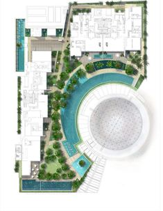 Grant Associates unveils landscape designs for Capitol Singapore Landscape Design Plans, Landscape Architecture Design, Architecture Plan, Contemporary Landscape, Urban Landscape, Landscape Stairs, Resort Plan, Urban Planning, Planer