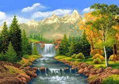 pintura em tela de cachoeiras - Pesquisa Google