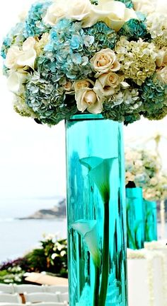 blue reception wedding flowers, wedding decor, wedding flower centerpiece, wedding flower arrangement, add pic source on comment and we will update it. can create this beautiful wedding flower Blue Wedding, Wedding Table, Wedding Flowers, Dream Wedding, Wedding Day, Wedding Veils, Wedding Photos, Tiffany Wedding, Seaside Wedding