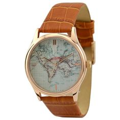 Vintage Map Watch World with stripes by SandMwatch on Etsy, $35.00