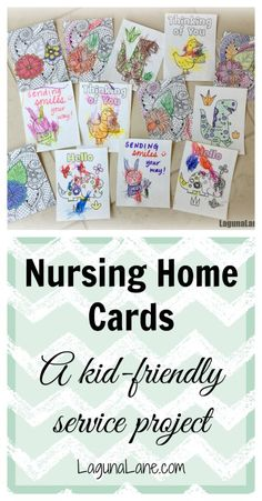 Nursing Home Service Project - Making & Delivering Cards Get your kids involved in a nursing home service project by coloring and delivering cards to the residents! Family-friendly service project for children of all a Nursing Home Crafts, Nursing Home Activities, Church Activities, Nursing Homes, Elderly Activities, Youth Activities, Indoor Activities, Summer Activities, Service Projects For Kids