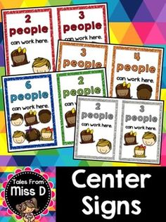 Organise how many students can work at a station with these center signs. Each sign is 10 x Perfect fit for a photo frame or the IKEA Tolsby Frame :) Classroom Signs, Classroom Projects, Kindergarten Classroom, Classroom Setup, Classroom Organisation, Teacher Organization, Classroom Management, Ikea Organization, Class Management