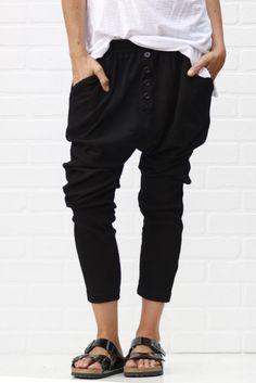 jogger pants black from ascot hart Jogger Pants, Harem Pants, Girls Joggers, Birkenstock, Drop Crotch, Athletic Wear, Spring Summer Fashion, Black Pants, Lounge Wear