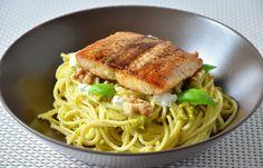 Lachs-Spaghetti mit Ziegenkäse