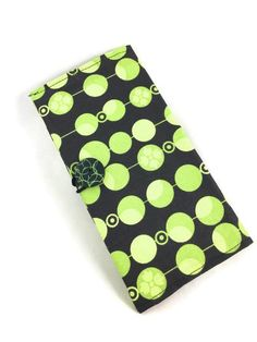 Mod design checkbook cover black and green with button closure