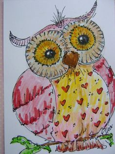 Original watercolour painting of little pink owl by kunstpause