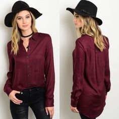 🎉SALE🎉 Burgundy Button Down Hi-Low Long Top New with tags. This lightweight top features long sleeves, a button up silhouette, and a comfy relaxed fit. Perfect for work, or dress down for a more casual look. Available in size S, M, and L.                                                                    🌸100% rayon.                                                               🌺PRICE IS FIRM UNLESS BUNDLED.                       ❌SORRY, NO TRADES. Boutique Tops Button Down Shirts