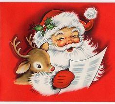 Santa Claus Reindeer Deer Rudolph Red Nosed Singer VTG Christmas Greeting Card