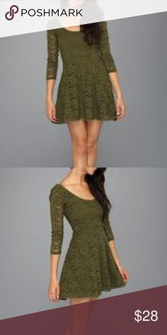 Free People lace dress Size M. True to size. Forest green color. A-line dress. Lace overlay with 3/4 sleeves, lace trim boat neck. EUC. *actual pic to be updated. Free People Dresses Mini
