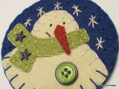 Wool Felt Snowman Ornament, Light Green Scarf, Blue Star Buttons, Green Stacked Buttons, Handstitched Snowflakes