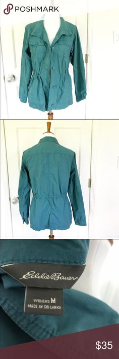NWOT teal Eddie Bauer utility jacket size medium New without tags Eddie Bauer teal utility jacket in size medium. Has strings to cinch in waist on the inside. Eddie Bauer Jackets & Coats Utility Jackets