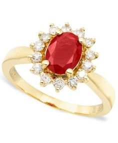 Royalty Inspired by EFFY Ruby (1-3/8 ct. t.w.) and Diamond (3/8 ct. t.w.) Oval Ring in 14k Gold
