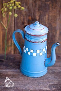 Vintage French Small Blue Enamel Coffee Pot - Lustucru Checkered Pattern - Art Deco 1920s  - Free SHipping Within The USA by ScrumptiousVenus on Etsy https://www.etsy.com/listing/245755077/vintage-french-small-blue-enamel-coffee