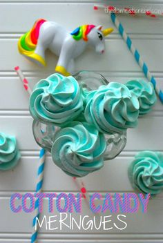 These Cotton Candy Meringues are so fun! Soft, crisp pillows that melt in your mouth and taste like sweet cotton candy! Meringue Cookies, Yummy Cookies, Yummy Treats, Sweet Treats, My Recipes, Baking Recipes, Cookie Recipes, Dessert Recipes, Dessert Ideas