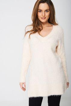 NEW LADIES FLUFFY LUREX KNIT JUMPER DRESS WOMENS MOHAIR LOOK TUNIC LONG TOP