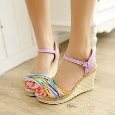 Women-Style-rainbow-Wedge-Sandals-Retro-High-Heel-Shoes-Platform-PUMP-Open-Toe