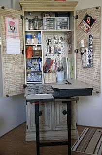 Sewing cabinet turned mini studio space.