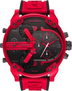 From Diesel&& this watch features& silicone strap with buckle closureRed stainless steel caseBlack dialQuartz chronograph movementApprox& 57 mm case sizeWater resistance up to 3 atmImported& Diesel Watches For Men, Luxury Watches For Men, Bracelet Silicone, Daddy, Herren Chronograph, Red Logo, Red Accents, Black Stainless Steel, Men Accessories