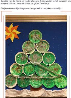 Groepswerk: elk kind schildert en versiert een bordje en samen wordt het een kerstboom