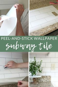 White Subway Tile Temporary Backsplash - The Full Tutorial - The Crazy Craft Lady Tile Wallpaper, Peel And Stick Wallpaper, Rental Decorating, Decorating Ideas, White Subway Tiles, Housekeeping Tips, Backsplash, Diy Projects, Creative