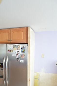 Building a fridge surround -- Plaster & Disaster Laundry In Kitchen, Blue Kitchen Cabinets, Built In Cabinets, Diy Kitchen, Kitchen Ideas, Kitchen Design, Big Fridge, Large Fridge, Refrigerator Cabinet