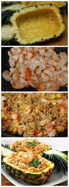 Pineapple Shrimp with cauliflower Fried Rice Shrimp Fried Rice, Shrimp Dishes, I Love Food, Good Food, Yummy Food, Tasty, Seafood Recipes, Dinner Recipes, Cooking Recipes