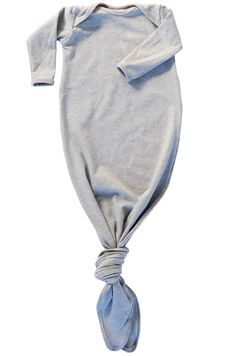 knotted baby gown in heather grey