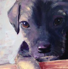 "Daily Paintworks - ""#68 Puppy Love"" - Original Fine Art for Sale - © Patty Voje"