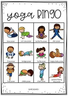 YOGA BINGO for kids. - This is a fun activity you can do all together at home. Throw a counter or a dice and perform which - Yoga Poses For Two, Kids Yoga Poses, Yoga Poses For Beginners, Yoga For Kids, Exercise For Kids, Yoga For Men, Preschool Yoga, Yoga Games, Gym Games