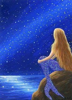 Mermaid fantasy stars night sky ocean limited edition aceo print art #Miniature