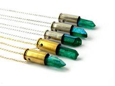 Green Crystal Bullet Necklace  Green Mystic Quartz by DanaCastle, $29.00