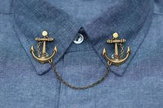 Bronze Anchor Collar Clip Collar Chain by DapperandSwag on Etsy, $12.00