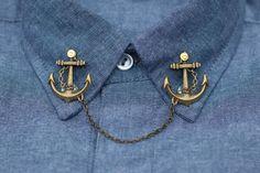 Bronze Anchor Collar Clip Collar Chain by DapperandSwag on Etsy, $12.00