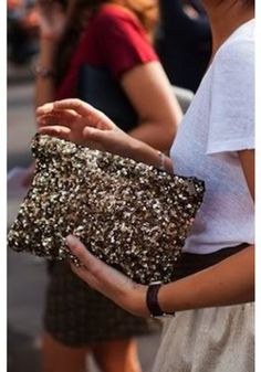Gold Sequin Clutch