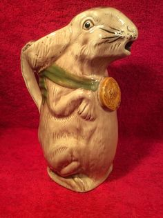 Unusual Antique French Majolica Bunny Rabbit Pitcher c.1900, fm915