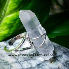 Clear Quartz Raw Crystal Adjustable Ring