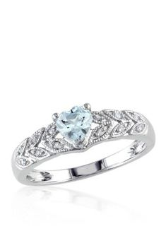 Belk  Co. Blue Sterling Silver Aquamarine and Diamond Heart Ring