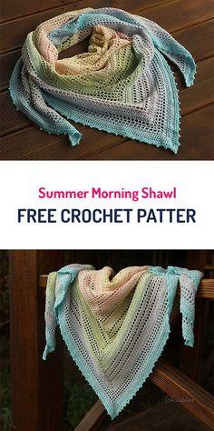 Summer Morning Shawl Free Crochet Pattern Source by ideas summer Crochet Diy, Poncho Au Crochet, Pull Crochet, Mode Crochet, Crochet Shawls And Wraps, Crochet Scarves, Crochet Crafts, Crochet Clothes, Crochet Stitches