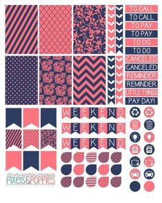 73 Coral & Navy Theme Stickers Planner by PixelsAndPoppiesShop